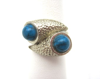 Vintage Turquoise Ring - Adjustable - Faux Turquoise Costume Jewelry