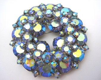 Blue AB Rhinestone Brooch - Costume Jewelry Layered Juliana Style
