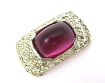 Art Deco Dress Clip - Rhinestone Jewelry Bridal Wedding Pink