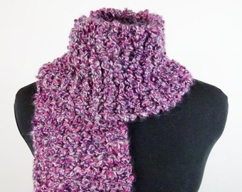 Chunky Hand-Knit Scarf, Warm Scarf of Vegan Bouclé Yarn in Orchid & Rose - Item 1372