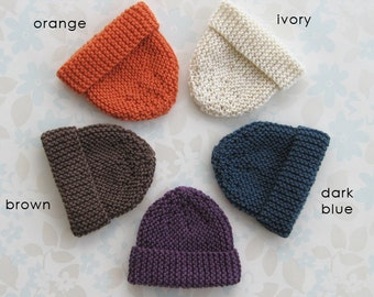 "MICRO PREEMIE Hat - up to 30 weeks / 3 lb - 5 colour choices (orange, ivory, dark blue, purple or brown) - NICU ""Kangaroo Care"""