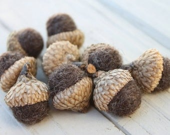 Wool Felted Acorns Brown Home Decor Neutral Eco Friendly