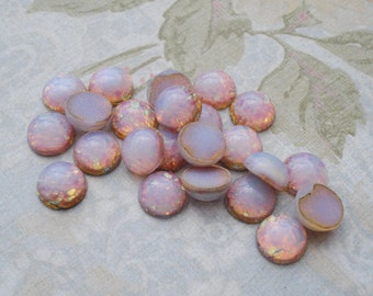 Vintage 8mm Fire Opal Harlequin Round Flat Back Glass Cabs (6 pieces)