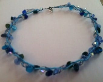 Boutique Summer Blues Beaded Wire Crochet Necklace