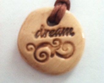 Polymer Clay Stamped Clay Pendant Dream