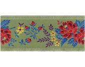 Czech Republic Woven Folkloric Jacquard Fancy Floral Trim 2 1/4 Inch Wide 1 Yard  CFT 002VL