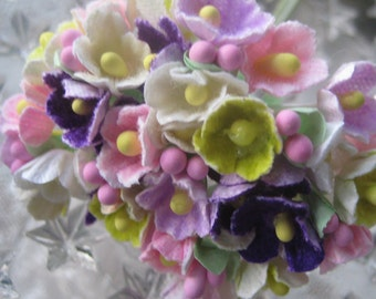Forget Me Nots Flocked Paper Flowers in Garden Mix 1 Bouquet