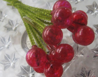 Vintage Millinery Glass Berry Stamen 1950s Japan Chenille Stems Clear Red