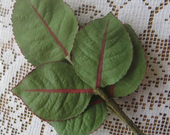 Vintage Millinery Rose Leaves 18 Small Fabric Leaves Germany 1950s  Style Z
