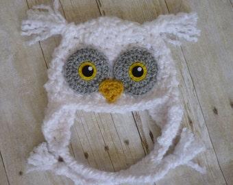 Custom Crochet Hedwig Owl Baby Earflap Beanie Hat