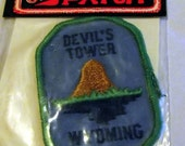 70s Vintage Iron On Embroidered Patch DEVIL'S TOWER, Mint in Package