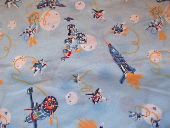 Awesome vintage 70s spaceship fabric flannel by for Space fleece fabric