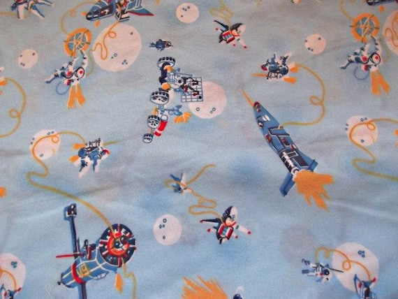 Awesome vintage 70s spaceship fabric flannel by for Space flannel fabric