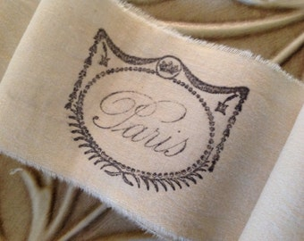 French Paris script trim - Tea dyed hand stamped ribbon