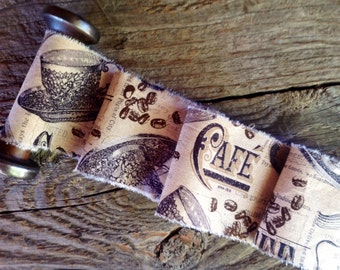 French Inspired Trim - Cafe' - Universities De France - Parisian   Trim -  Extra Wide Distressed Ribbon Trim 3 inches wide