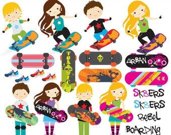 Skateboarding clipart - skateboarding clip art, skateboard, boarding, girls, boys, sport, urban, cool, kewl, for personal and commercial use