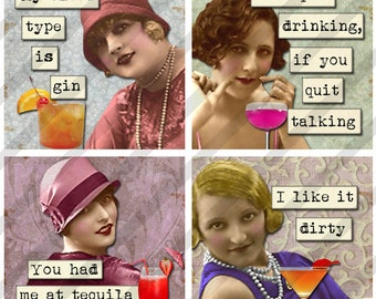 Digital Collage Sheet 2X2 inch  Cocktail drinking Ladies (Sheet no. FS219) Instant Download