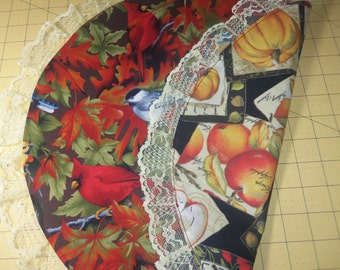 BIRDS / AUTUMN'S BOUNTY Reversible Doily or Basket Liner, Bowl Liner, housewarming, gifts, holiday, birthday