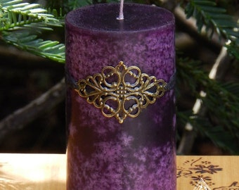 Brigid . Medieval Alchemy Pillar Candle . Moonlit Honeysuckle, Jasmine and Galbanum with soft notes of Blonde Woods