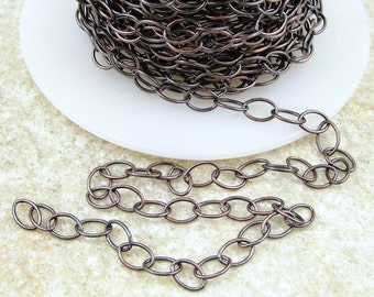 TierraCast Chain - Dark Antique Copper Plated 5mm x 6mm Cable Chain - Medium Large Fine Link Jewelry Chain 20-0825-18