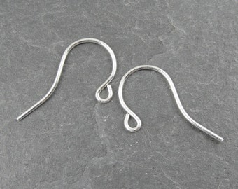 Small STERLING SILVER Earring Wires - Simple Ear Findings - 11mm x 19mm 21 gauge g French Hook Ear Wires (SSFH6)