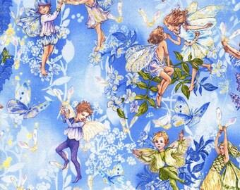 Flower Fairy Dawn Fairies Blue Cicely Mary Barker Fabric 1 yard