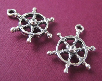 Antiqued Sterling Silver Boat Wheel Charm for Summer Jewelry 2 pcs Ship Steering Wheel