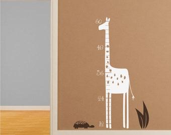 Giraffe Wall Decal Growth Chart - Nursery Vinyl Stickers Art