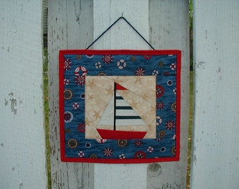 Quilted Wall Hanging - Sail Boat (UNWHA)