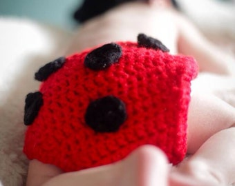 Newborn lady bug hat and diaper cover outfit