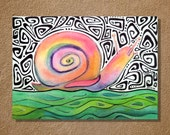 "Groovy Snail Watercolor and Ink Painting Drawing 5"" x 7""  Wall Art"