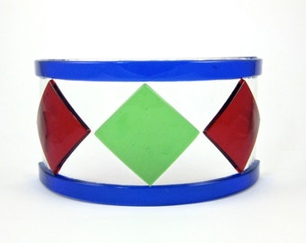 Red and Green Glass Candle Screen - Fused Glass Candle Holder - Small