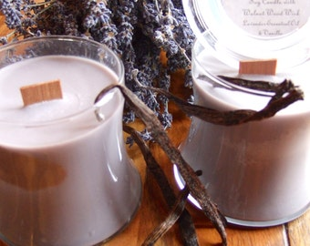 LAVENDER VANILLA SOY Wooden Wick Candle