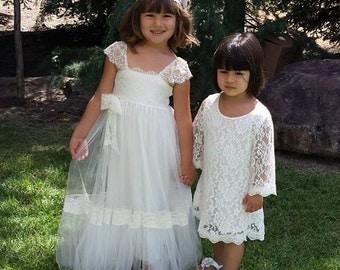 Special PRICE For 7 Days Only RITA ivory silk tulle flower girl dress gypsy flower girl dress bohemian flower girl dress