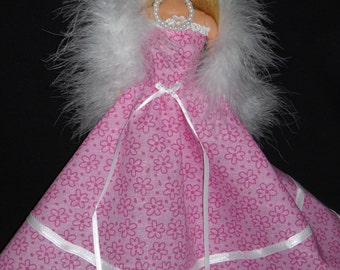 3 Piece Outfit Pink with Lace Gown Barbie Doll Dress Handmade with Boa and Necklace