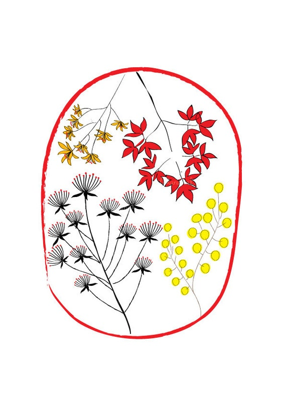 Florists Art Print - Red, Floral Print, Garden decor, Drawing, illustration, Decorative art, Home decor Living room decor, Flower girl gift