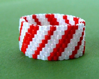 Red And White Candy Cane Stripe Ring, Beaded Ring, Candy Cane Christmas Jewelry, Custom Size Beadwoven Holiday Jewelry, Bead Weaving