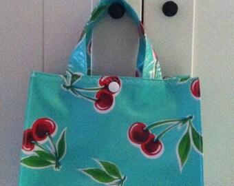 Beth's Retro Cherry Oilcloth Lunch Box Tote Bag