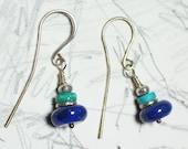 Sleeping Beauty Turquoise and lapis earrings