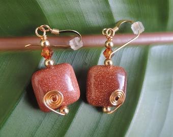 Goldstone n Swarovski  Beads Goldtone Wire Earrings