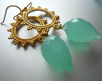 Seafoam Chandeliers, Seafoam earrings, aqua earrings, Sun Sun Sun Here it Comes Earrings