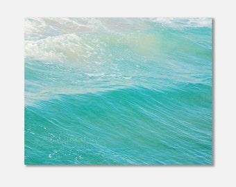 beach canvas print, blue ocean wave photo, beach photography, peppermint blue minimalist nautical decor, turquoise, calm, photo gallery wrap