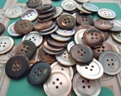 """1/2 pound vintage mother of pearl buttons antique 7/8""""  holes iridescent dark silvery antique"""