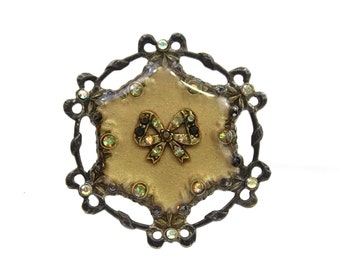 1950s Bows & Rhinestones Circle Brooch, Very Delicate Pin