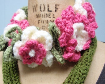 Flower Basket Scarf Crochet Pink and White