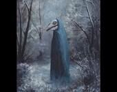 Mari Lwyd, Art Print, Horse Skull, Skeleton, Wales, Welsh History, Gray Mare, Winter Forest, Winter Solstice, Blue Forest, Hobby Horse