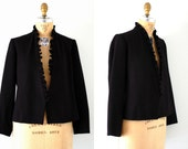 70s jacket / Vintage 70s Black Wool Open Blazer Jacket with Ruffles