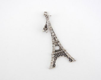 Large Antique Silver-tone Eiffel Tower Pendant with Small Charm