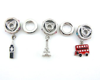 Set of Travel Themed Charms and Spacers