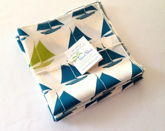 Organic Cotton Napkins, Eco Friendly Cloth Napkins, Reusable - Teal Blue and Lime Green Sailboats, Set of Four